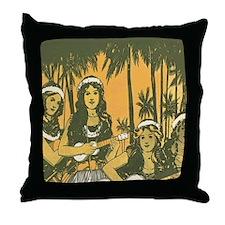 Hawaiian Ukelele Girls Throw Pillow