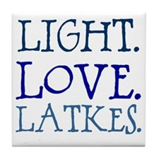 Light. Love. Latkes. Tile Coaster