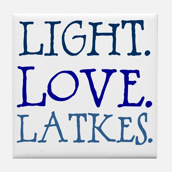 Light. Love. Latkes. Tile Coaster