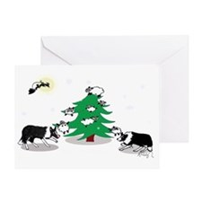 Black and white Border Collie Christ Greeting Card