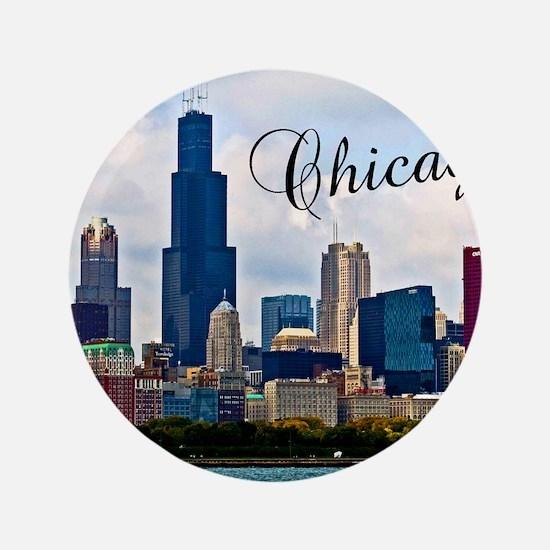 """Chicago_4.25x5.5_NoteCards_Skyline 3.5"""" Button"""
