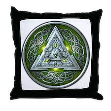 Norse Valknut - Green Throw Pillow