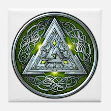 Norse Valknut - Green Tile Coaster