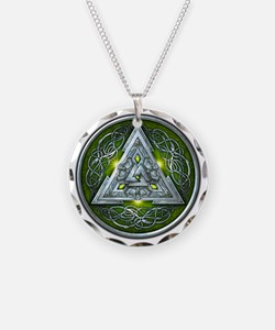 Norse Valknut - Green Necklace