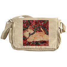 Wheaten Scottish Terrier on Red Messenger Bag