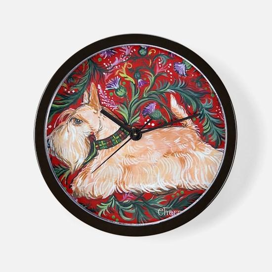 Wheaten Scottish Terrier on Red Wall Clock