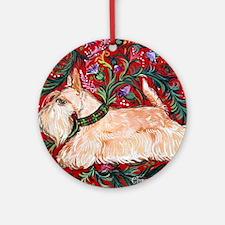 Wheaten Scottish Terrier on Red Round Ornament