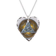 Norse Valknut - Yellow Necklace Heart Charm