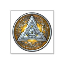 "Norse Valknut - Yellow Square Sticker 3"" x 3"""