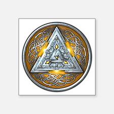 """Norse Valknut - Yellow Square Sticker 3"""" x 3"""""""