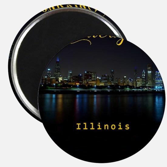 Chicago_ornament_oval_Skyline Magnet
