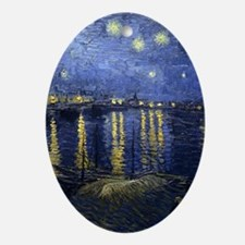Van Gogh Starry Night Over Rhone Oval Ornament