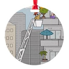 FIREMAN RESCUING CAT FROM A TREE CA Ornament