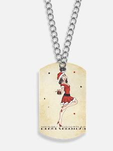 Vintage pinup tattoo flash Christmas card Dog Tags