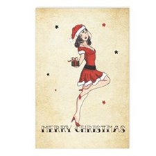 Vintage pinup tattoo flas Postcards (Package of 8)
