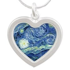 Van Gogh Starry Night Silver Heart Necklace