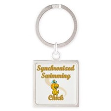 Synchronized Swimming Chick #2 Square Keychain