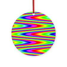 Psychedelic Rainbow Zig Zag Pattern Round Ornament