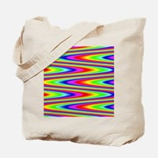 Psychedelic Rainbow Zig Zag Pattern Tote Bag