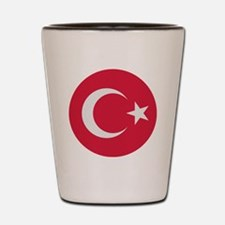 Turkey flag circle Shot Glass