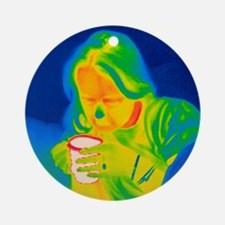 Hot drink, thermogram Round Ornament