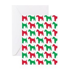 Schnauzer Christmas or Holiday Silho Greeting Card