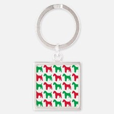 Schnauzer Christmas or Holiday Sil Square Keychain