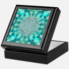 Blue Christmas Snowflake Fractal Keepsake Box