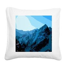 Sun on Mountains Square Canvas Pillow