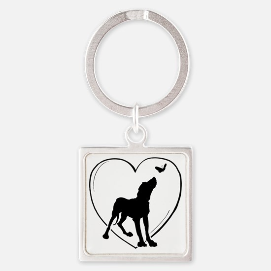 Dog  Butterfly Square Keychain