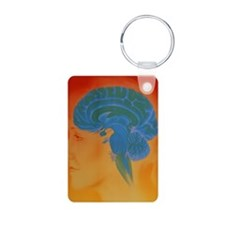 Human brain Aluminum Photo Keychain
