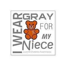"""I Wear Gray for my Niece Ju Square Sticker 3"""" x 3"""""""