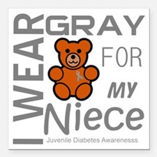 "I Wear Gray for my Niece Square Car Magnet 3"" x 3"""