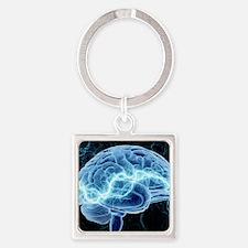 Human brain, conceptual artwork Square Keychain