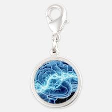 Human brain, conceptual artwor Silver Round Charm