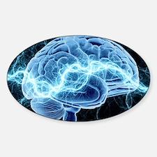 Human brain, conceptual artwork Sticker (Oval)