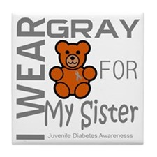 I Wear Gray for my Sister Juvenle Dia Tile Coaster