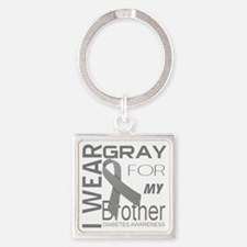 I wear gray for my brother Diabete Square Keychain