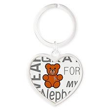 I Wear Gray for my Nephew Diabetes  Heart Keychain