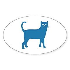 Aqua Blue Cat Oval Decal