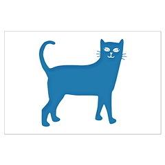 Aqua Blue Cat Posters