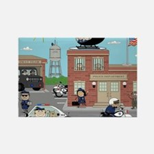 POLICE DEPARTMENT SCENE Rectangle Magnet