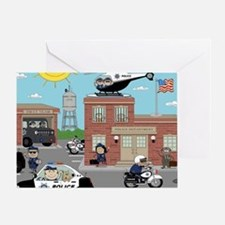 POLICE DEPARTMENT SCENE Greeting Card