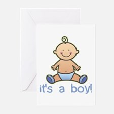 New Baby Boy Cartoon Greeting Cards (Pk of 10)