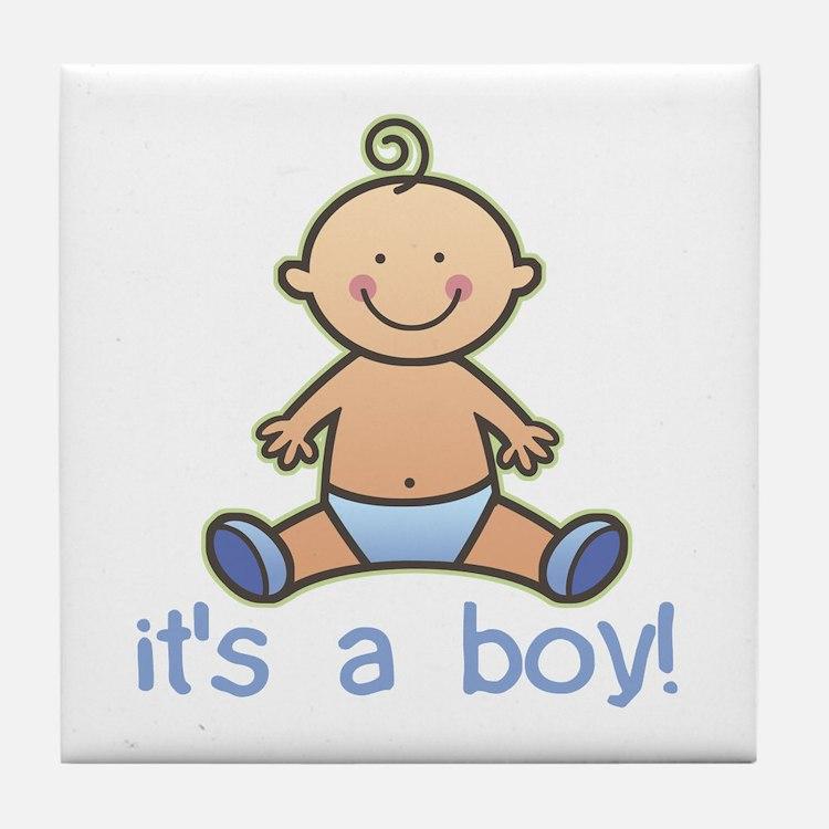 New Baby Boy Cartoon Tile Coaster