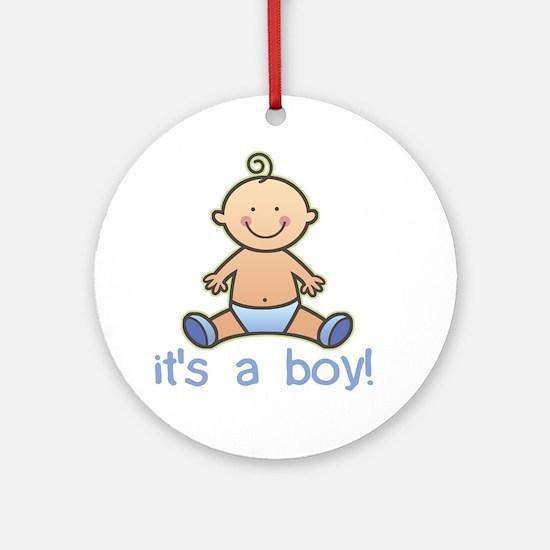 New Baby Boy Cartoon Ornament (Round)