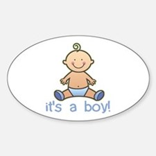 New Baby Boy Cartoon Oval Bumper Stickers