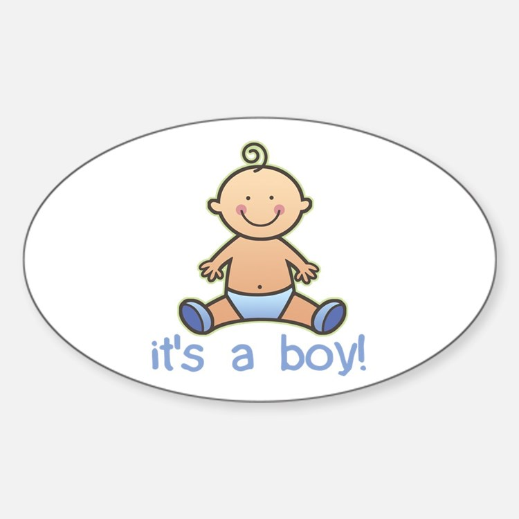 New Baby Boy Cartoon Oval Decal