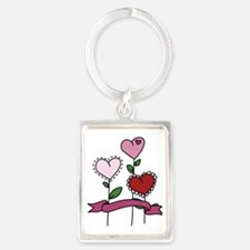 Heart Flower Blooms Portrait Keychain