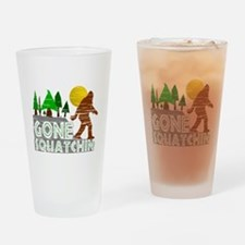 Gone Squatchin Vintage Retro Distre Drinking Glass